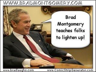 president bush talks about brad in this comic strip