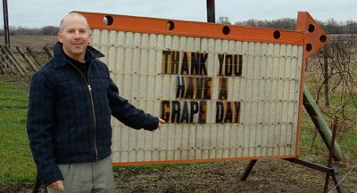 grape sign at vinyard.  Isn't this funny?