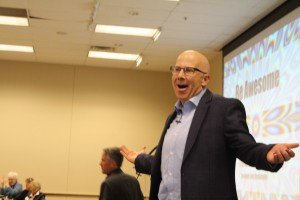 See change speaker Brad Montgomery craziness while delivering business message