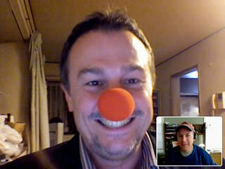 clown nose during video conference